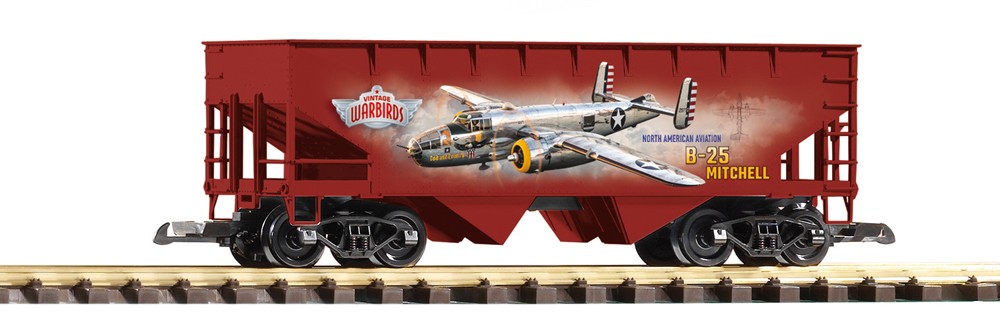 Two bay hopper with plane decal on side