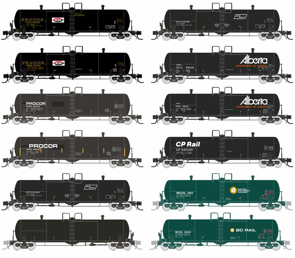 Twelve tank cars in different paint schemes