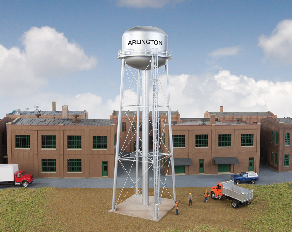 Water tower in front of a building