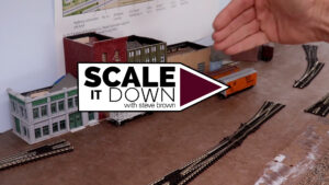 Scale It Down logo over image of unfinished benchwork and track work.