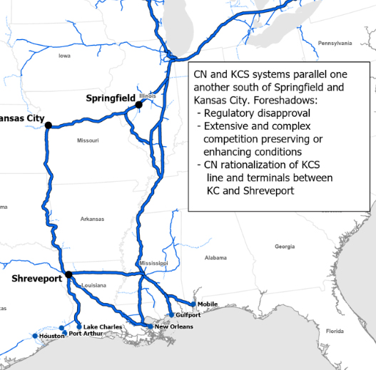 Map showing parallel routes of combined CN-KCS systems south and east of Kansas City