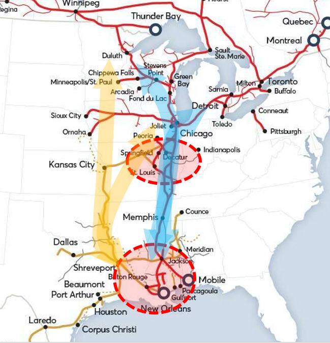 Map of central U.S. highlighting areas where Canadian Pacific says Kansas City Southern and Canadian National routes overlap