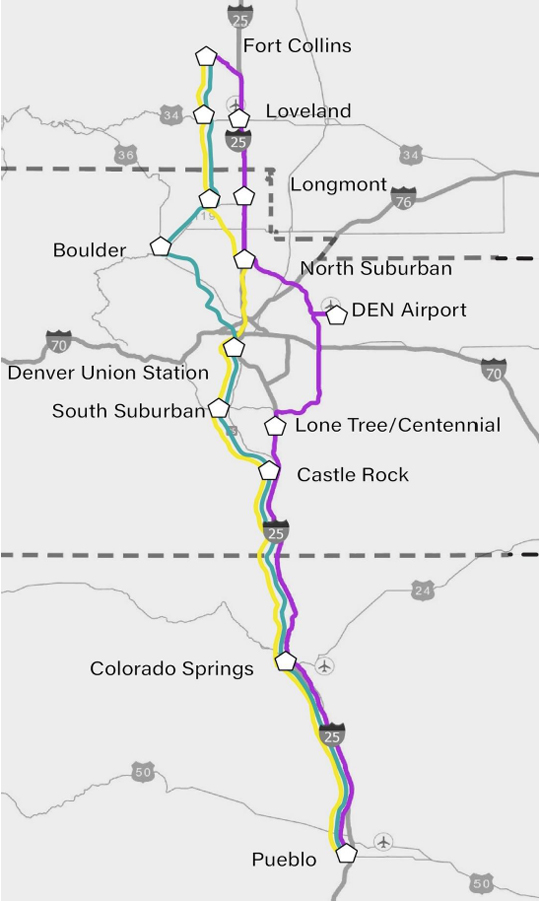 Map showing three alternatives for North-South passenger rail service in Colorado