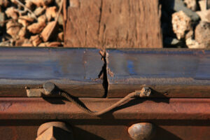 Rail joint showing wear