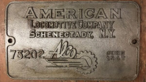 Alco steam locomotive builder's plate