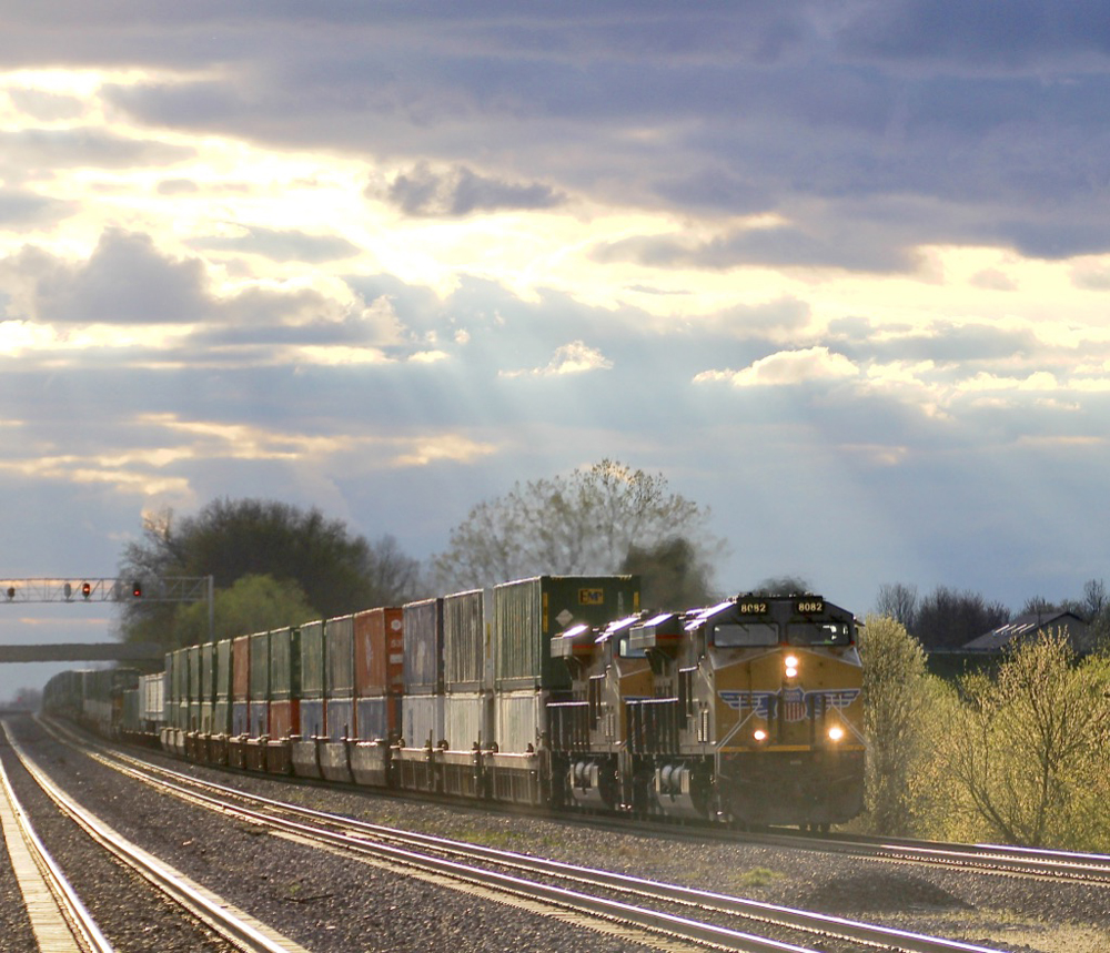 Stack train under dramatic clouds