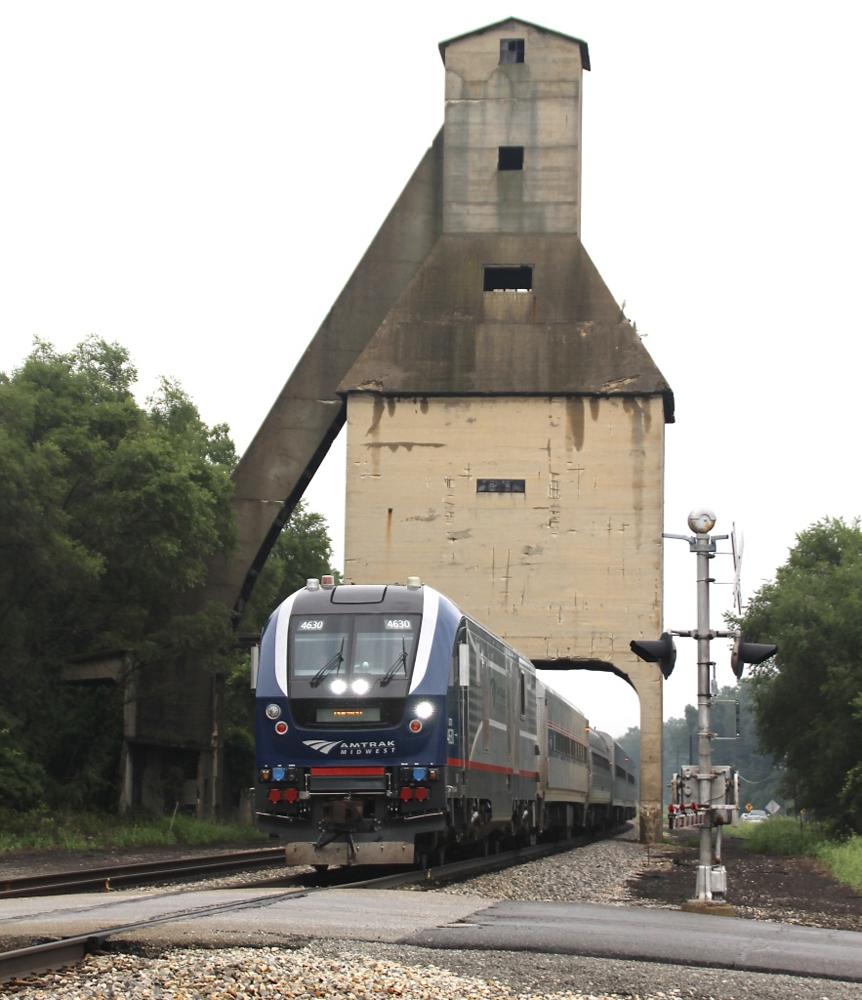 Passenger train on straight track