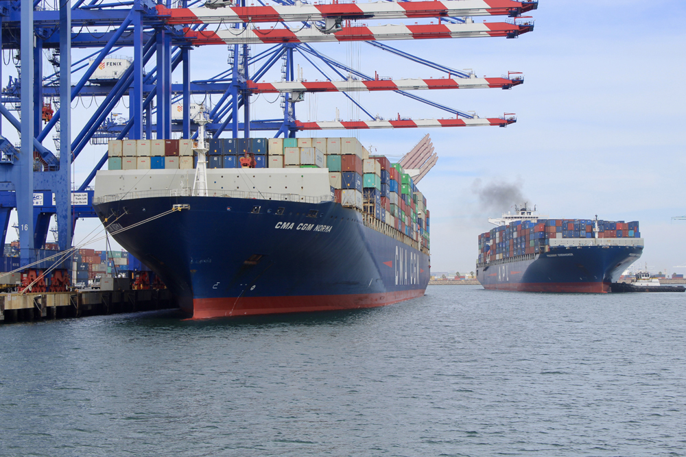 Two container ships at port