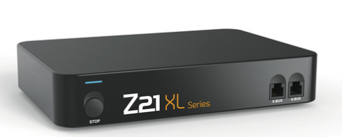 a black box with a button, ethernet ports, and the words z21 xl series