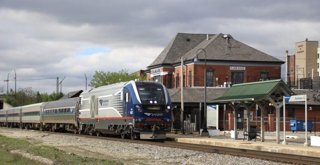 Passenger train stops at station