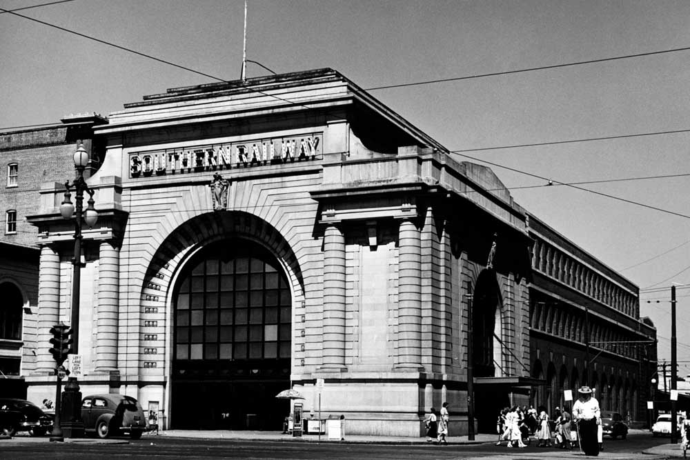 Exterior of stone station on street corner