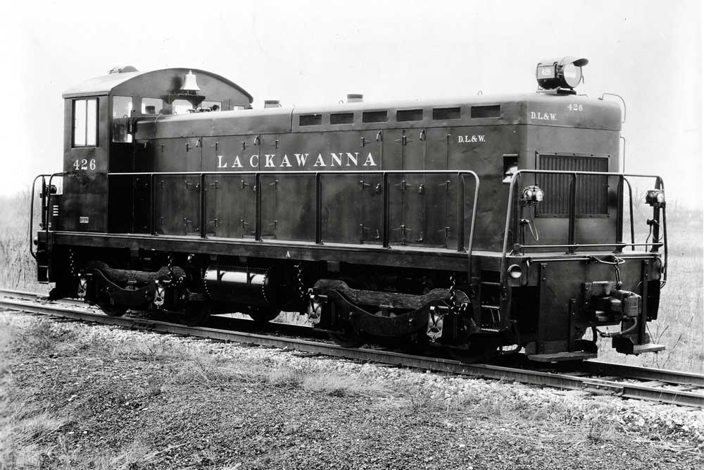 Black diesel switcher locomotive