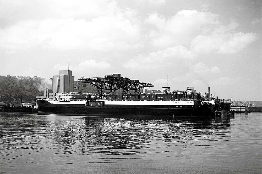 Railroad car-carrying ship at dock