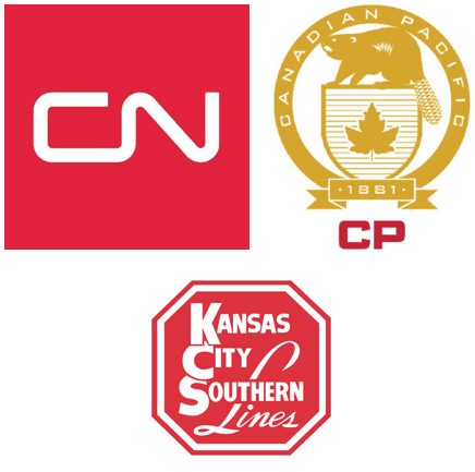 Logos for Canadian National, Canadian Pacific, and Kansas City Southern