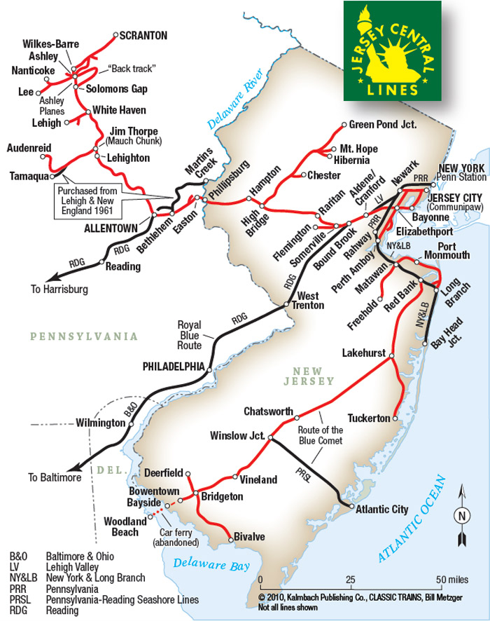 Map of Central Railroad of New Jersey