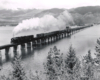 Steam locomotive with freight train crossing long, low bridge.