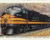 Artist's rendering of four streamlined diesel locomotives.
