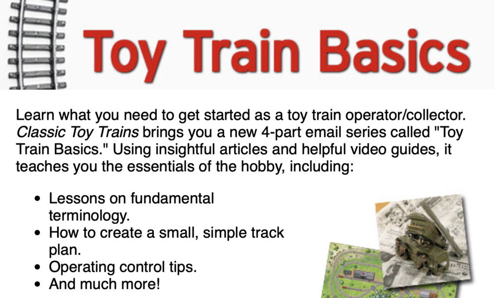 Screen image of introductory text and images of toy train email beginners series pitch.