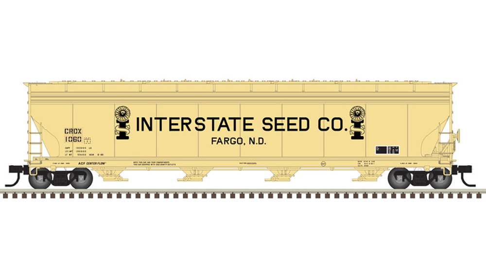 Interstate Seed Co. American Car & Foundry 5,701-cubic-foot capacity four-bay covered hopper.