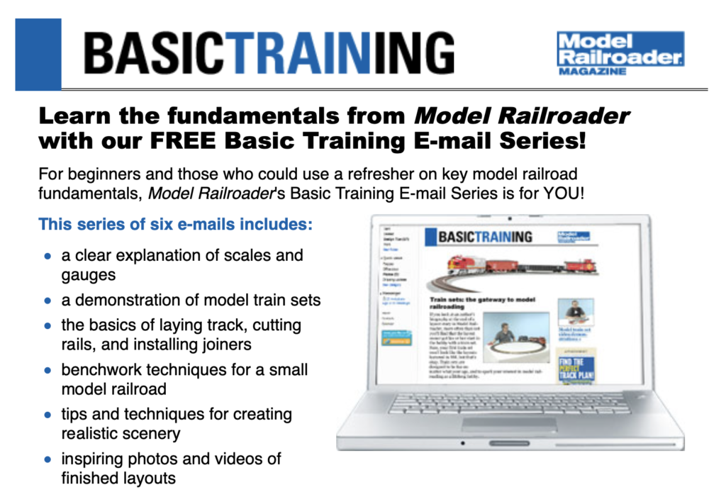 Screen image showing text and images from Model Railroader's beginner email series pitch.