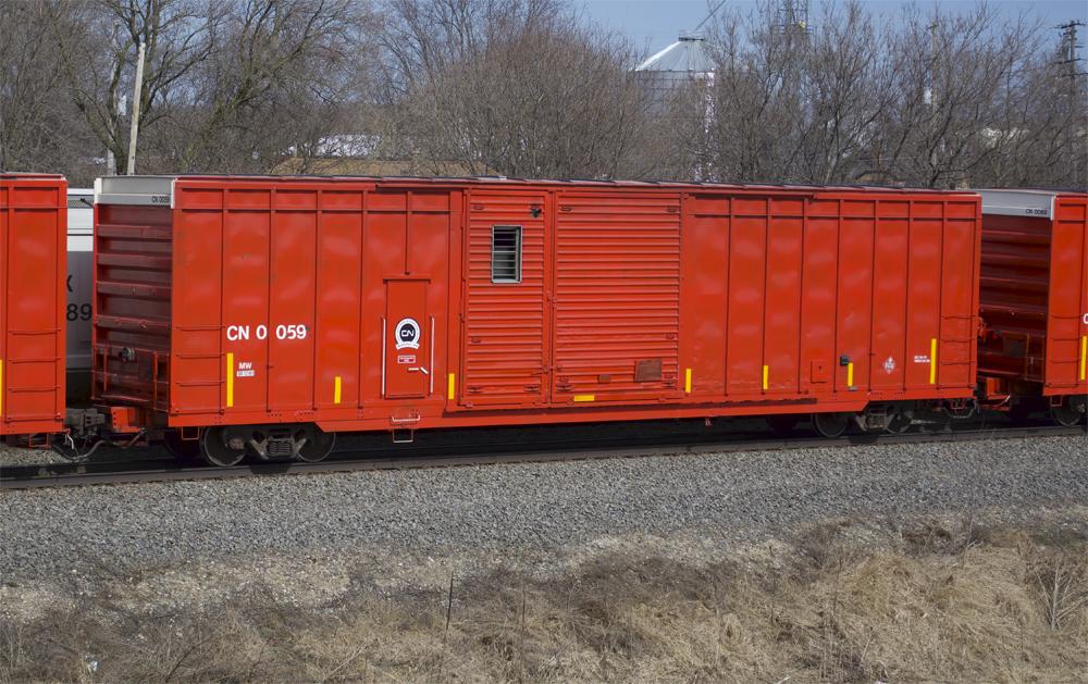 Left side of Canadian National distributed braking car no. 0059.