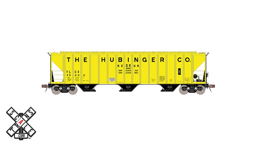 Hubinger Pullman-Standard 4,785-cubic-foot capacity three-bay covered hopper.