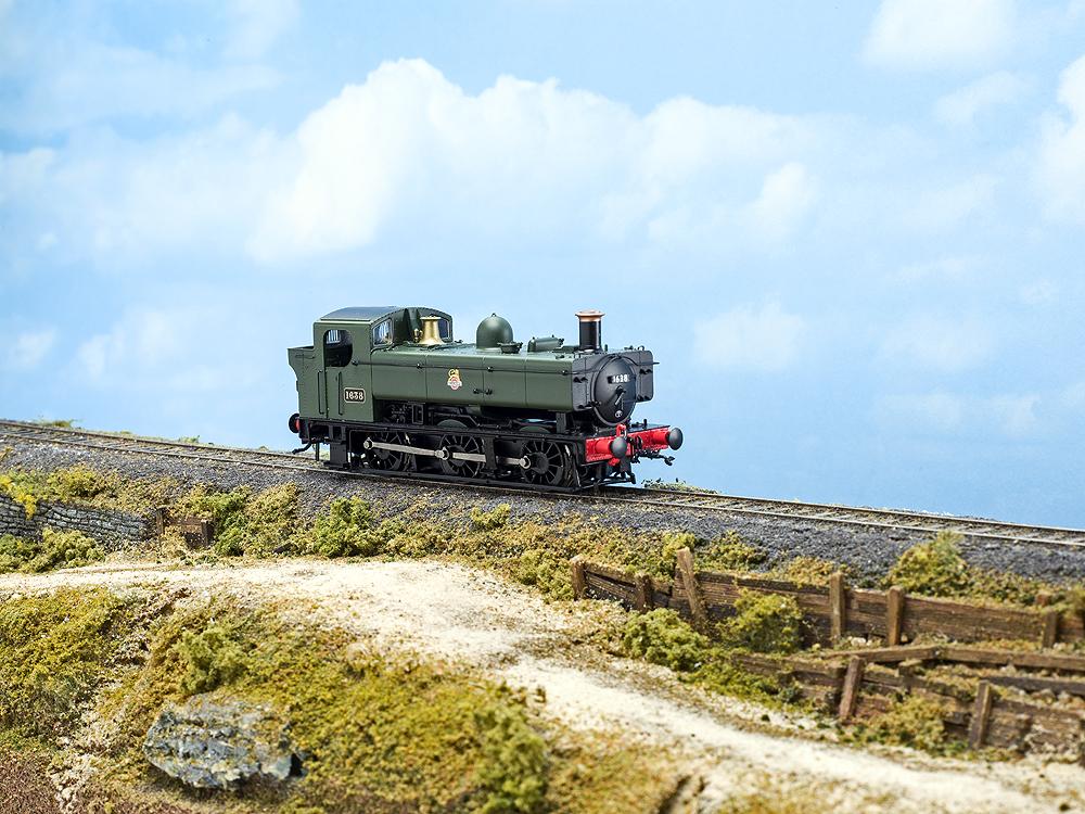 Model Rail/Rapido Trains 16XX 0-6-0PT engineer's side on model railroad scene