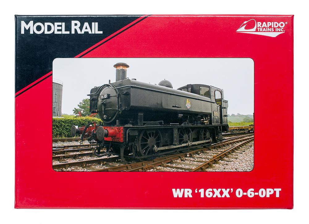 Box lid showing actual 16XX 0-6-0PT steam locomotive no. 1638 in service on British Railways