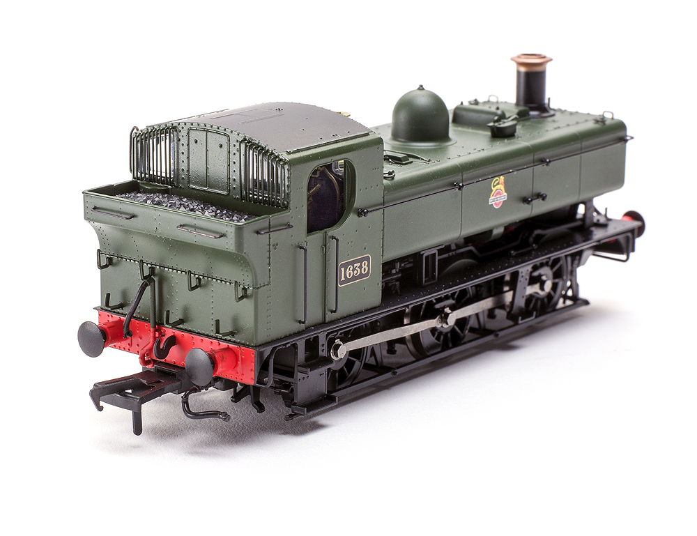 Model Rail/Rapido Trains 16XX 0-6-0PT back of locomotive showing metal handrails and fine protective grating over windows