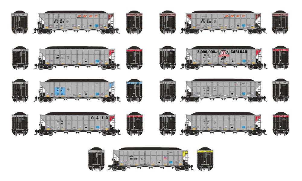 Rapido AutoFlood III coal hoppers in varying paint schemes.