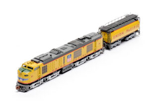 Top three-quarter view of ScaleTrains.com N scale Union Pacific gas turbine locomotive with tender