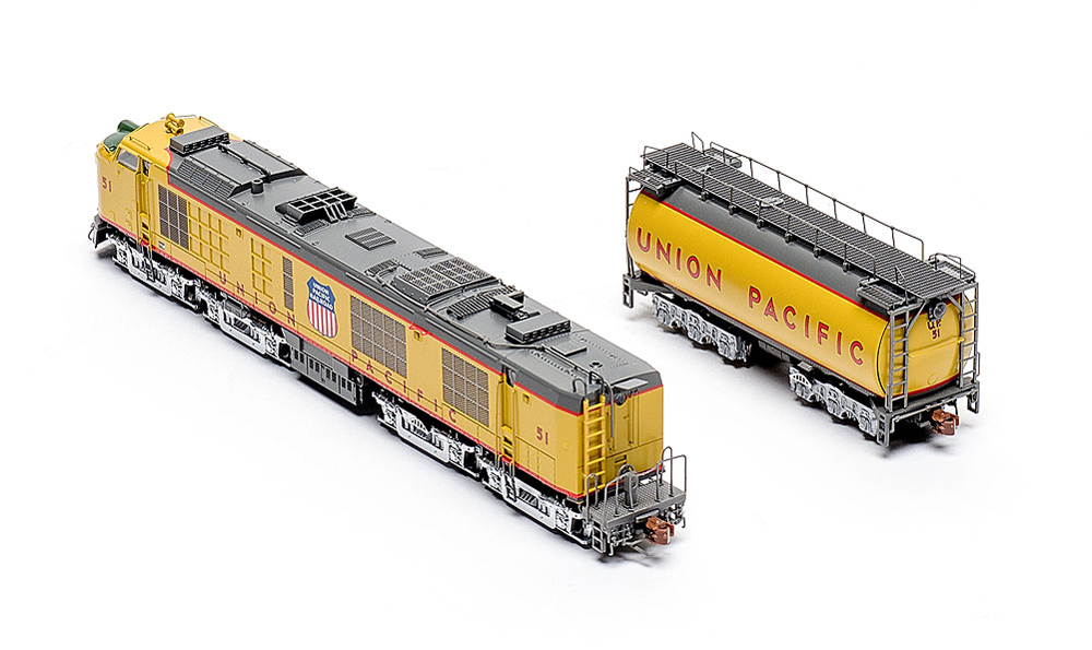Rear three-quarter view of ScaleTrains.com N scale Union Pacific standard turbine and tender