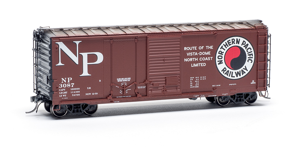 Tangent Scale Models HO scale Northern Pacific Pullman-Standard 40-foot combination-door boxcar no. 3087.