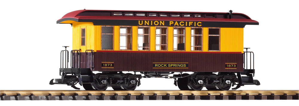Union Pacific wood coach with Rock Springs decal