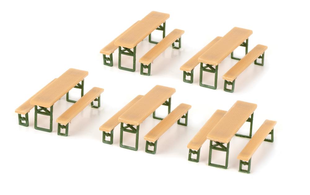 Five picnic tables