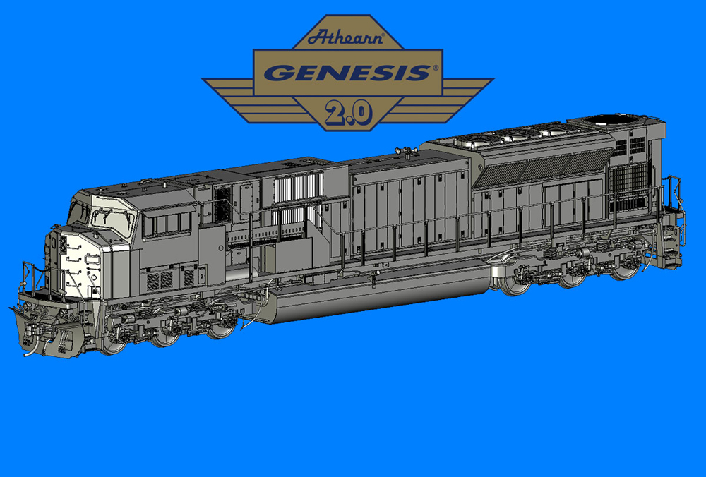 Computer rendering of an HO scale Electro-Motive Division SD90MAC diesel locomotive