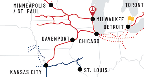 Canadian Pacific map showing area with Amtrak service