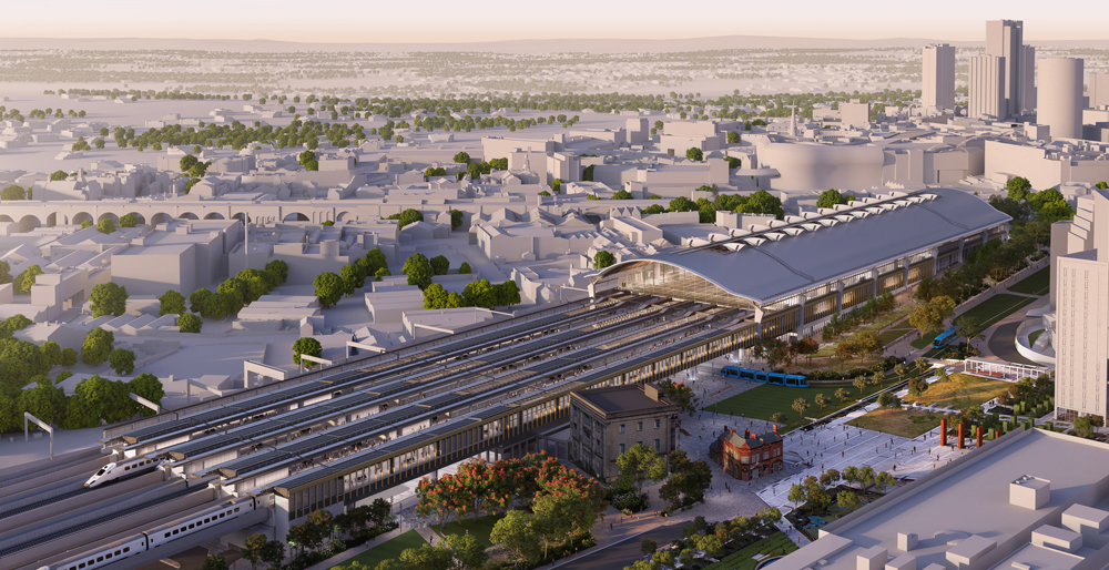 Aereal rendering of new train station