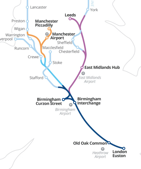 Map of HS2 network