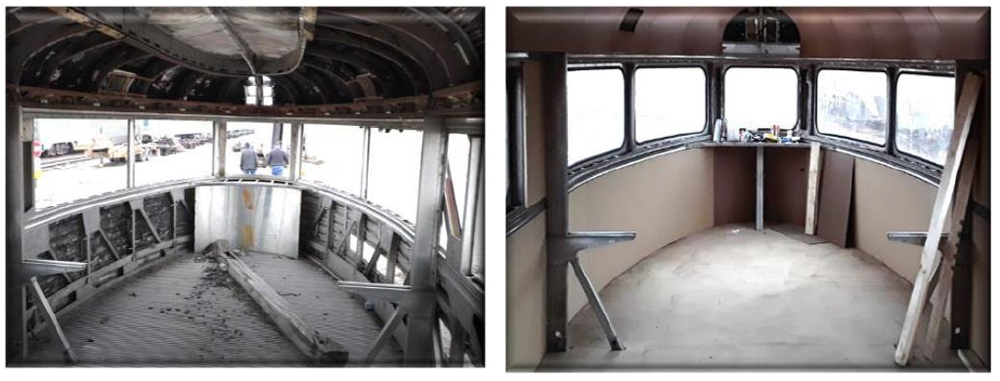 Views of round-end observation car before and during restoration.