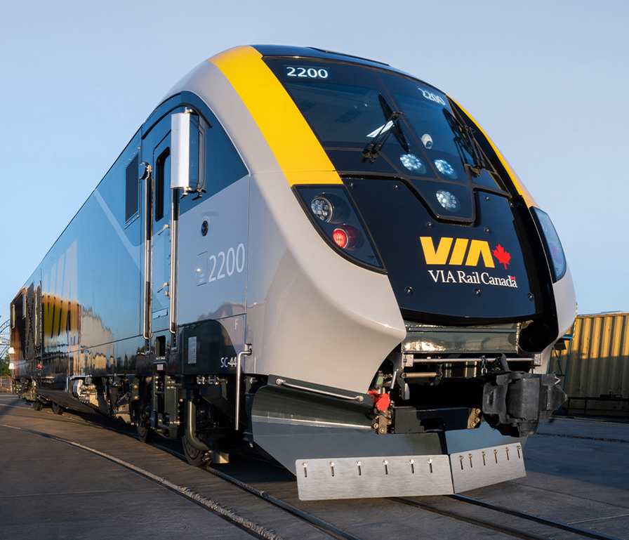 New blue, yellow, and silver locomotive