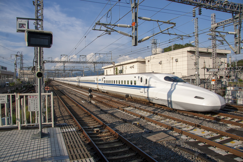 White high speed train in Japan