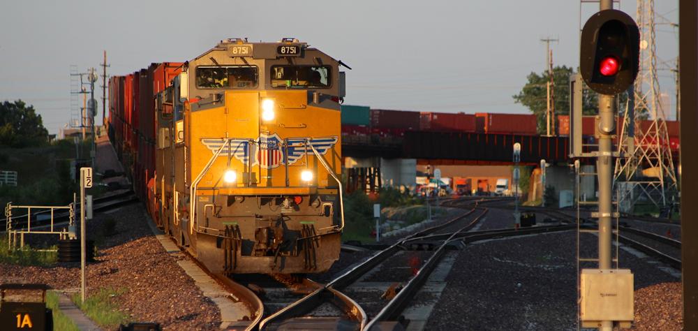 Yellow diesel brings train in to junction