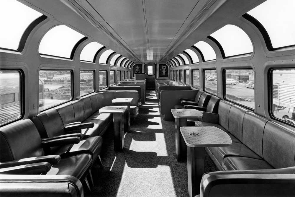 Interior of new railroad lounge car