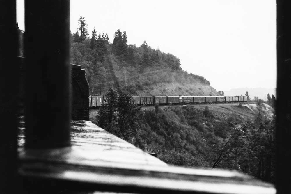Freight train curves along mountainside