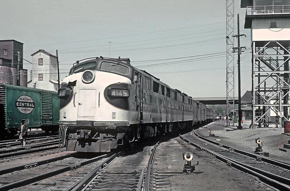 Streamlined diesel locomotives with passenger train