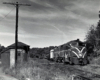 Streamlined diesel locomotives with freight train