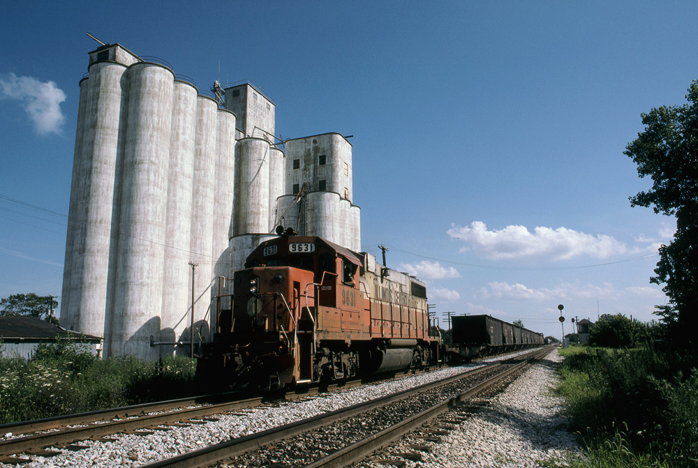 Road-switcher diesel locomotive with freight train