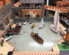 Indoor large-scale layout with boat harbor