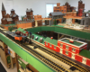 Indoor large-scale layout with N scale canal